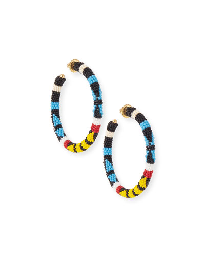 Bead Pattern Hoop Earrings