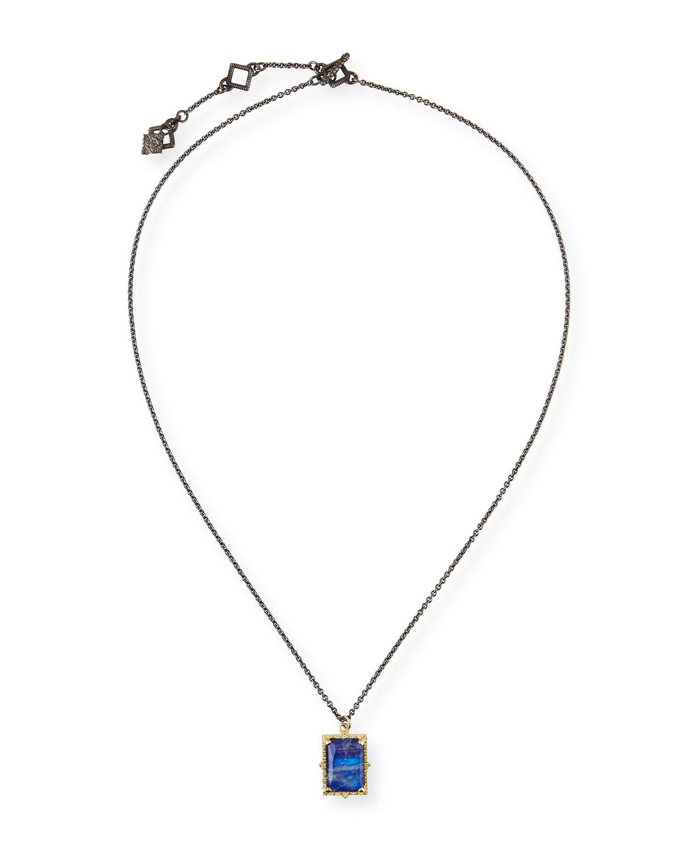 Armenta  OLD WORLD LAPIS/BLUE MOONSTONE RECTANGULAR PENDANT NECKLACE