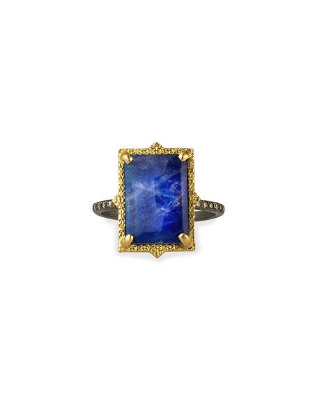 Armenta Old World Lapis/Blue Moonstone Rectangular Ring w/ Diamonds, Size 6.5