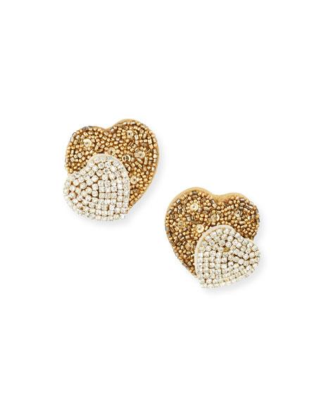 Sachin & Babi Lyla Double-Heart Stud Earrings