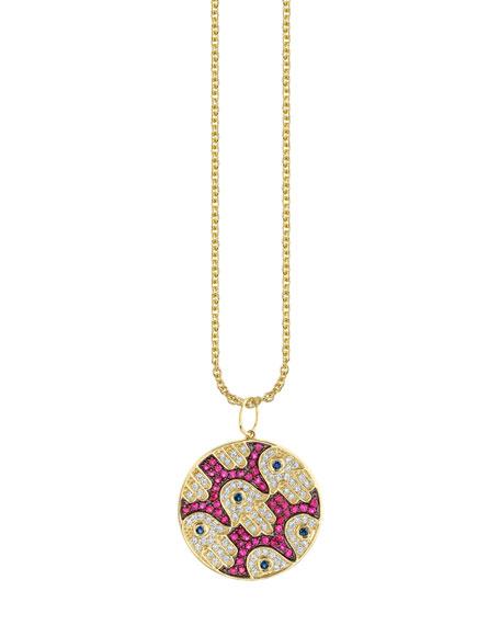 Sydney Evan 14k Diamond/Ruby/Sapphire Hamsa-Pattern Necklace