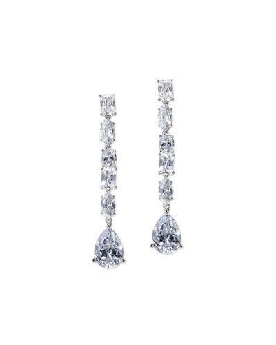 Cubic Zirconia Linear Drop Earrings w/ Pears