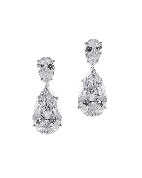 Golconda by Kenneth Jay Lane Double-Pear Cubic Zirconia Drop Earrings