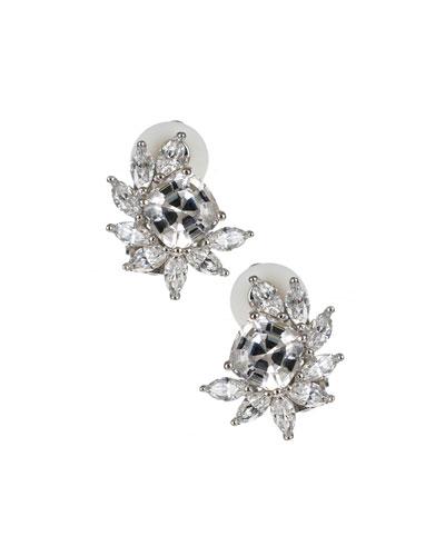 Cushion Cubic Zirconia Marquise-Trim Earrings