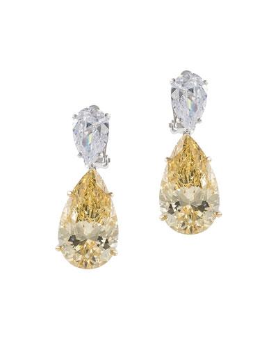 Double-Pear Cubic Zirconia Drop Earrings, Yellow