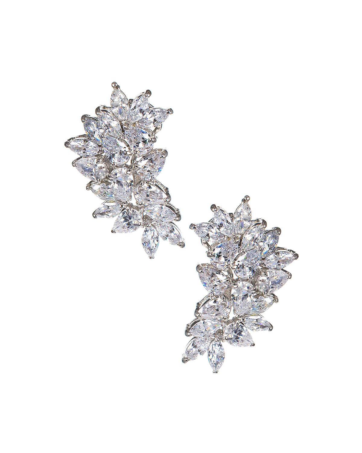 Cubic Zirconia Pear & Marquise Cluster Earrings