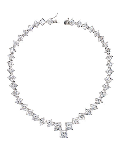 Graduated Princess-Cut Cubic Zirconia Necklace