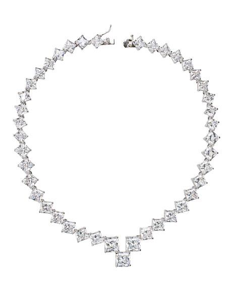 Golconda by Kenneth Jay Lane Graduated Princess-Cut Cubic Zirconia Necklace