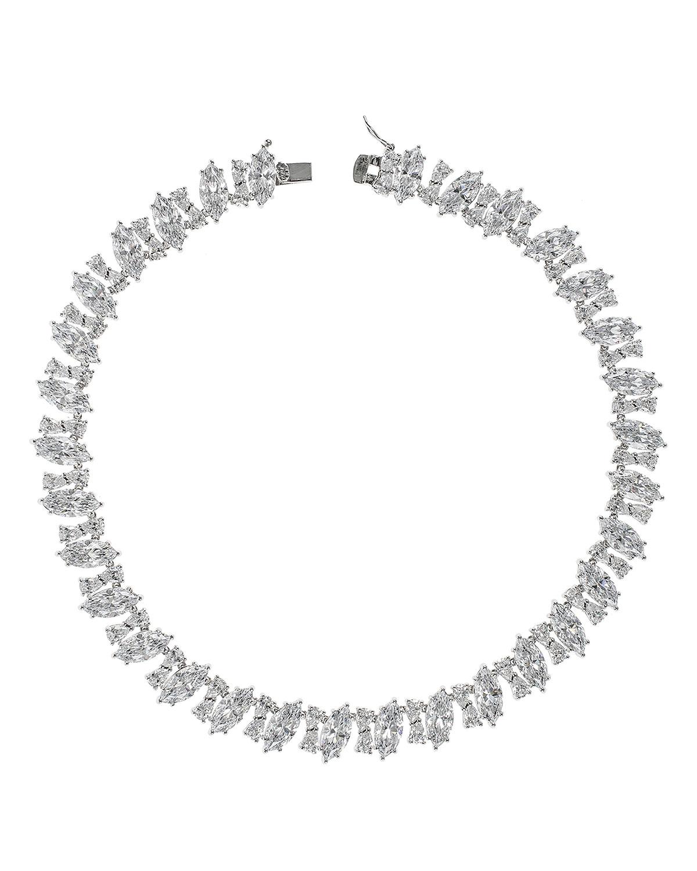 Cubic Zirconia Diagonal Marquise Necklace