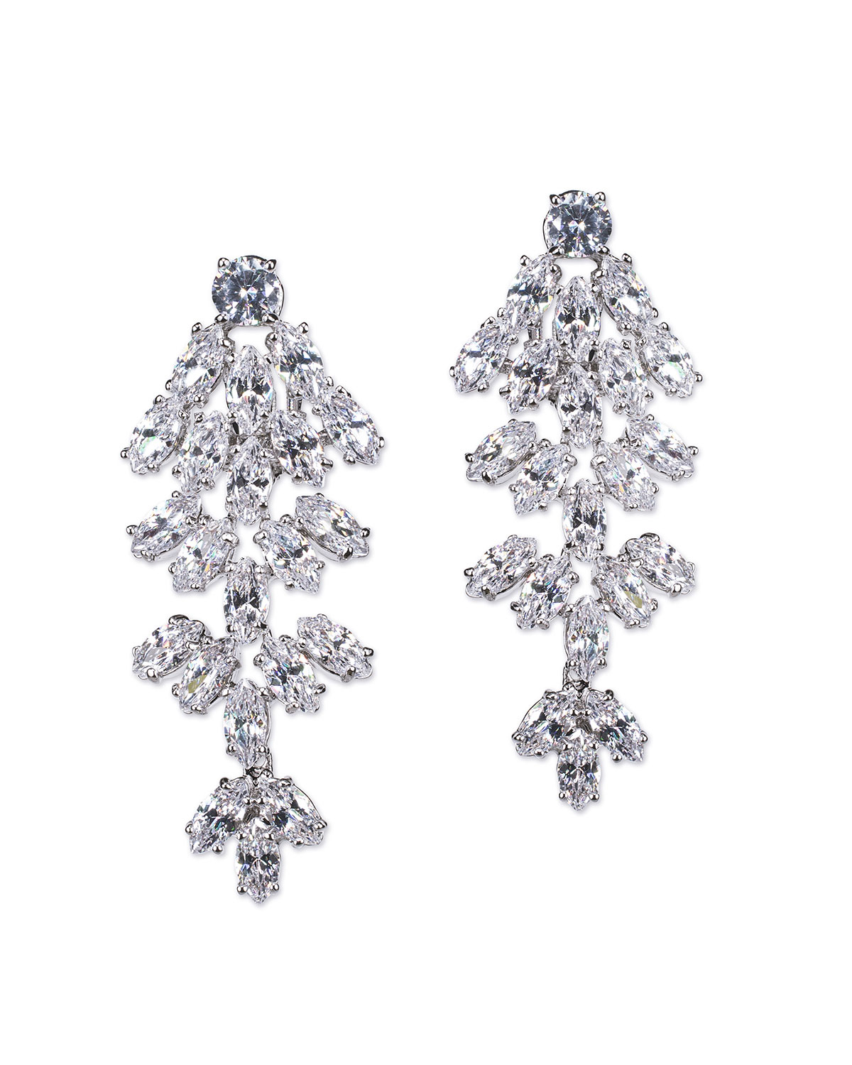 Cubic Zirconia Tiered Marquise Earrings