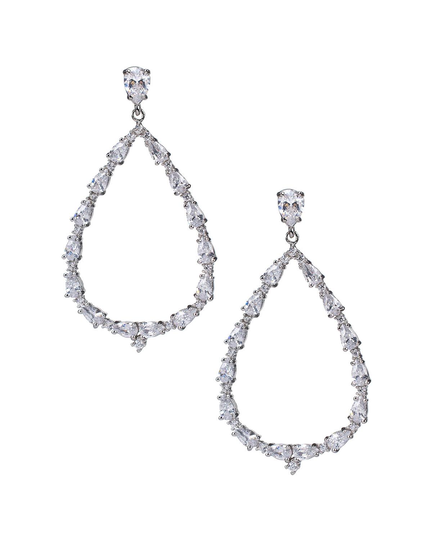Cubic Zirconia Open Teardrop Earrings