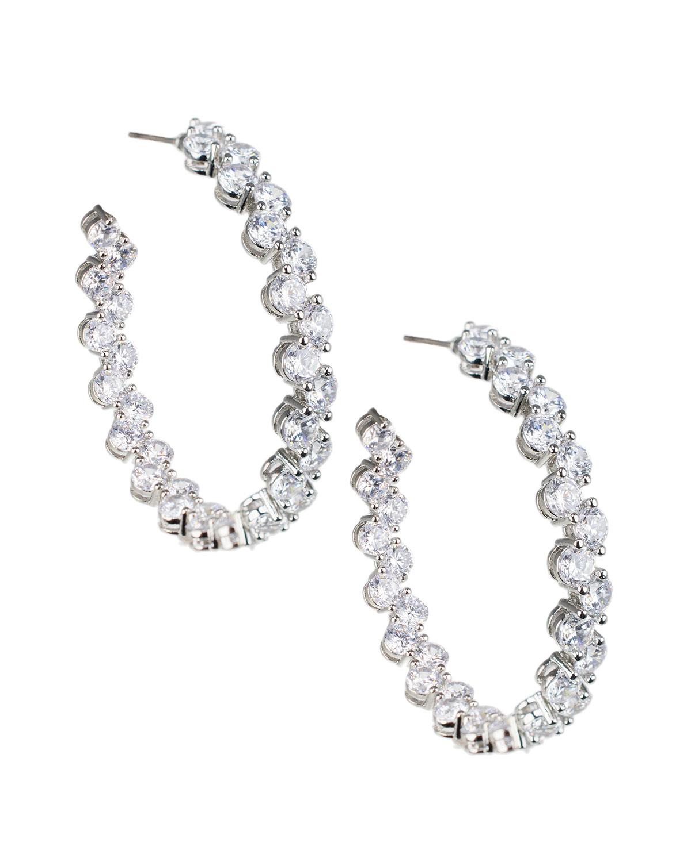 Cubic Zirconia Alternating Hoop Earrings