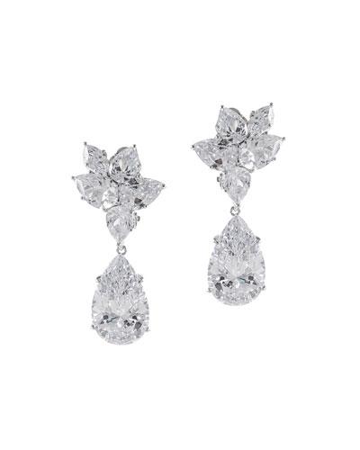 Multi-Pear Cubic Zirconia Clip Earrings
