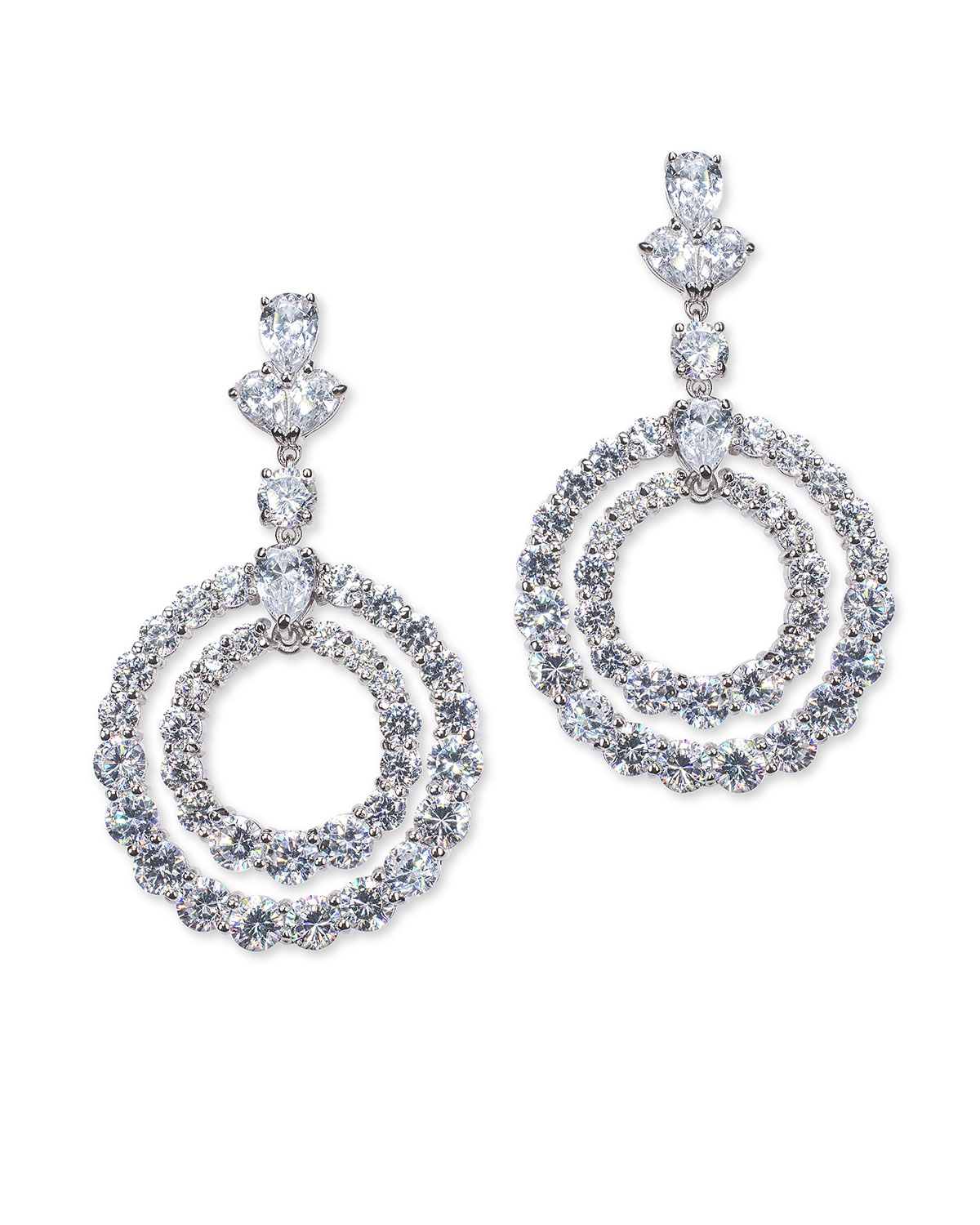 Cubic Zirconia Concentric Circle-Drop Earrings