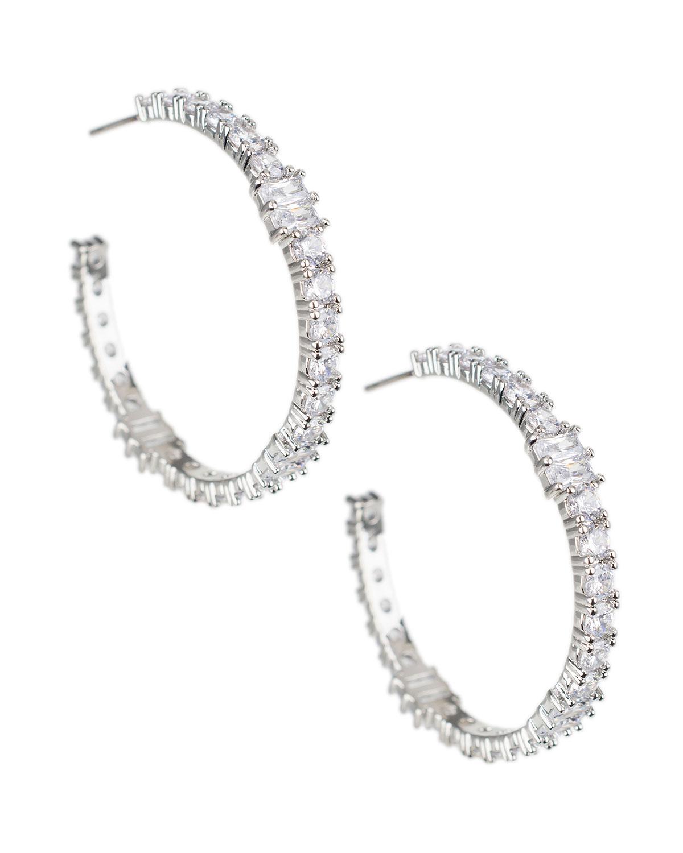 Cubic Zirconia Channel-Set Hoop Earrings