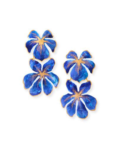 Tahiti Flower Earrings, Blue