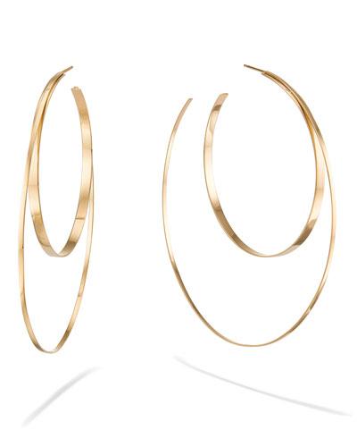 14k Tri-color Gold Huggies Hanging Earrings, 55mm x 5mm