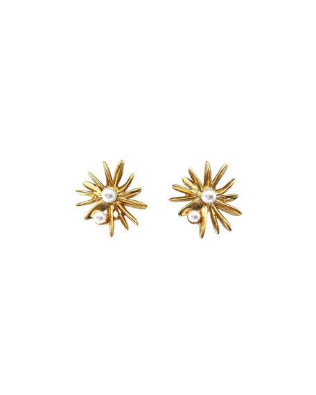 Oscar de la Renta Classic Pearly Starburst Post Earrings