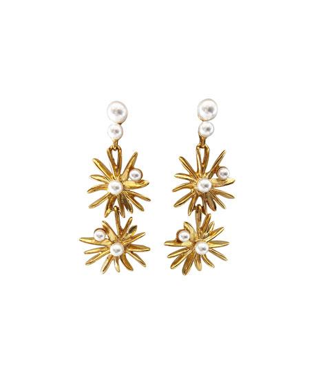 Oscar de la Renta Classic Pearly Starburst Drop Earrings