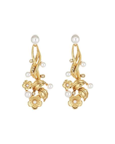 Oscar de la Renta Floral Pearly Post Earrings