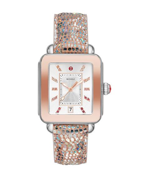MICHELE Deco Sport Iridescent 2-Tone Pink Gold & Lizard Watch