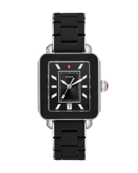 MICHELE Deco Sport Silicone Wrapped Bracelet Watch in Black