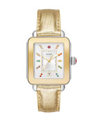 MICHELE Deco Sport 2-Tone Yellow Gold & Lizard