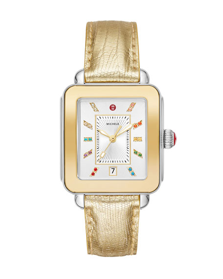 MICHELE Deco Sport 2-Tone Yellow Gold & Lizard Watch