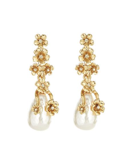 Oscar de la Renta Metal Flower Pearly Drop Earrings