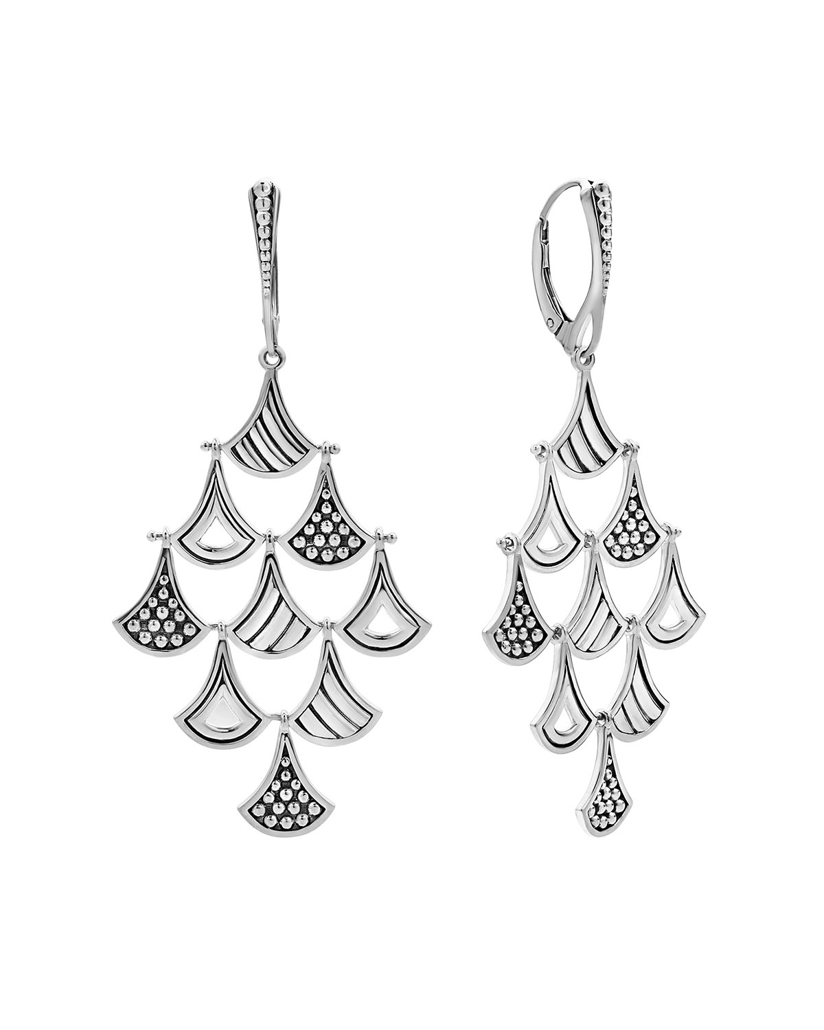 Lagos  SIGNATURE CAVIAR PAGODA TRIANGLE CHANDELIER EARRINGS