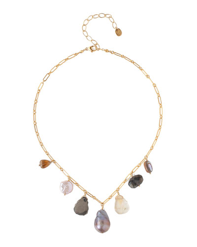 Mixed-Charm Necklace w/ Pearls