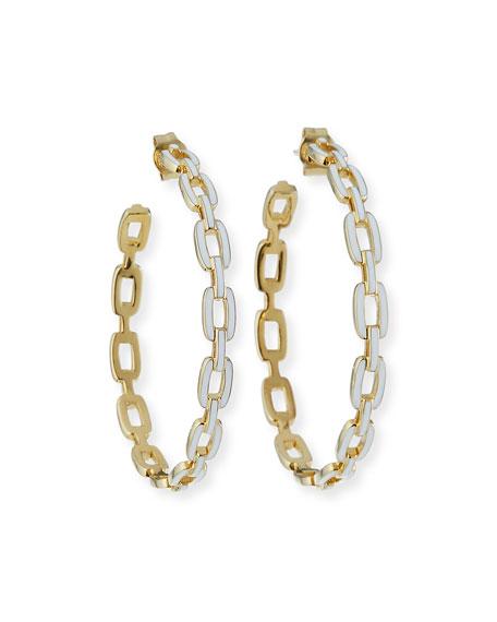 Jennifer Zeuner Carmine Enamel Medium Hoop Earrings