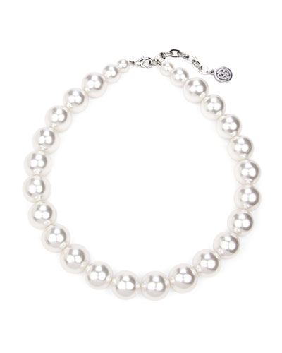 Large Glass-Pearl Single Strand Necklace