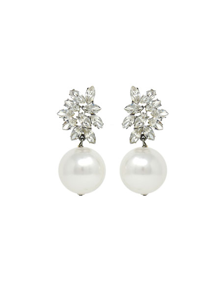 Ben-Amun Crystal Glass-Pearl Clip-On Earrings
