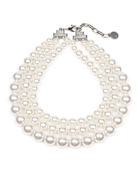 Ben-Amun Triple Glass-Pearl Strand Necklace