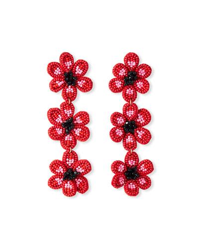 Anemone Flower Drop Earrings, Red