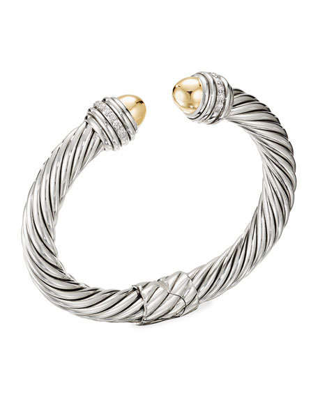David Yurman 9mm Cable Bracelet with Diamond Trim and 18K Gold, Size S-L