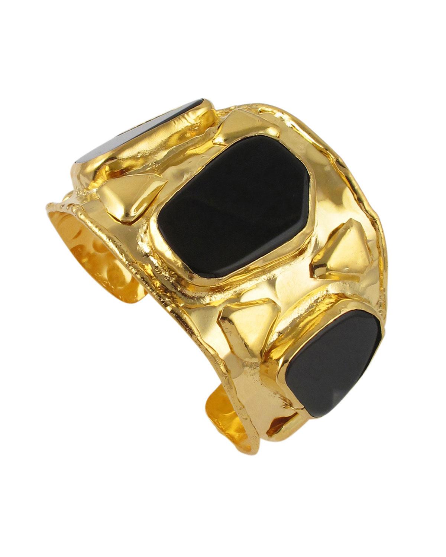 Black Agate Gold Cuff