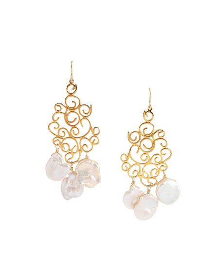 Devon Leigh Filigree Freshwater Pearl Earrings