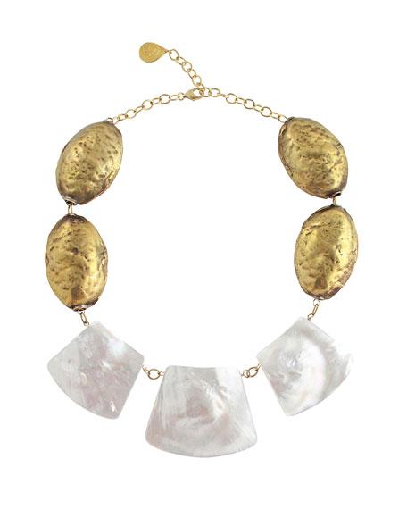 Devon Leigh Pearlescent-Slice Necklace