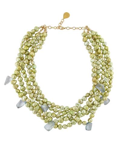 Multi-Strand Yellow Pearl Necklace w/ Quartz