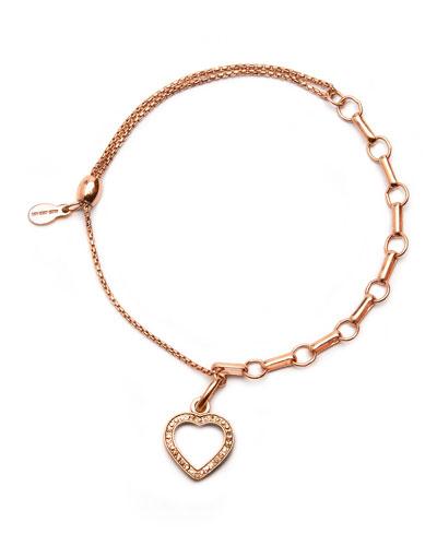 Pave Heart Pull Chain Bracelet