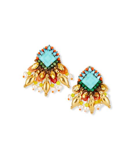 Ranjana Khan Beaded Clip Earrings
