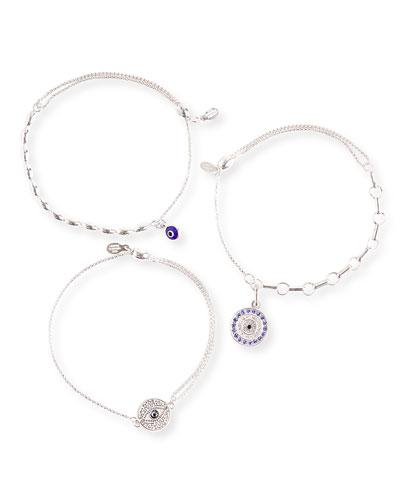 Evil Eye Bracelets, Set of 3, Silver