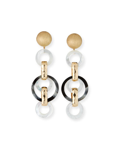 Horn and Mother-of-Pearl Long Clip Earrings