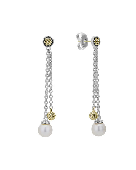 Lagos Luna Pearl and Gold Ball Two-Chain Post Drop Earrings