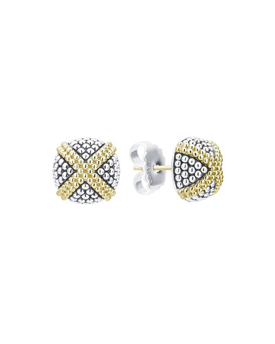 Signature Caviar Two-Tone Domed X-Stud Earrings