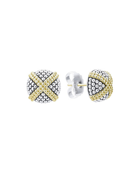 Lagos Signature Caviar Two-Tone Domed X-Stud Earrings