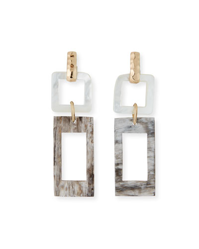 Horn and Mother-of-Pearl Geometric Earrings