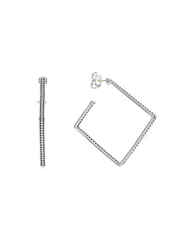 Signature Caviar Square Hoop Earrings, 40mm